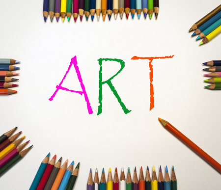 Colored Pencils Around Art Sign Stock Photo