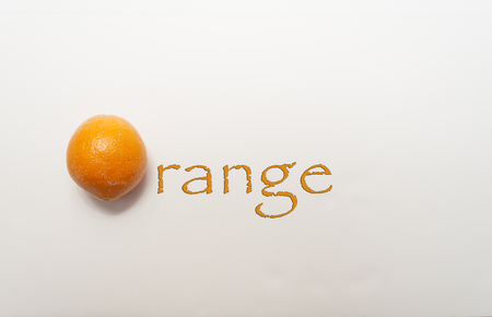 An Orange Spelling Out Orange On A White Background