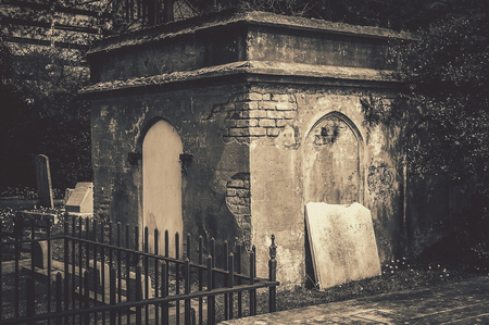 Spooky Old Grave Yard Crypt Stock Photo