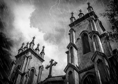 Creepy Gothic Church In Rain Storm