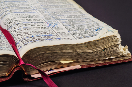 Well Read And Studied Opened Bible Stock Photo