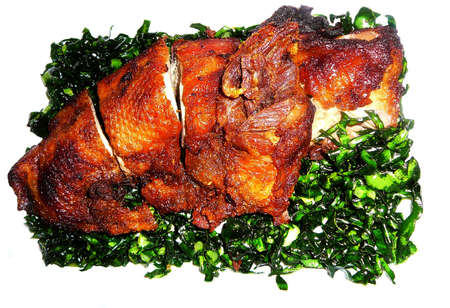Gourmet Meal of Sliced Duck over Seaweed over White Stock Photo - 806596
