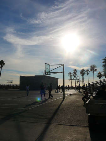 Santa Monica, California Basketball Court at Sunset photo