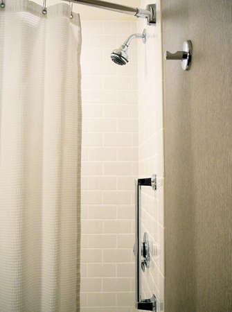 drapes: Interior of Simple White Bathroom Stock Photo
