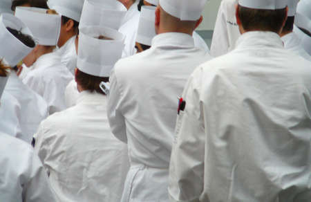 uniformity: Group of Chefs standing in traditional uniform whites Stock Photo
