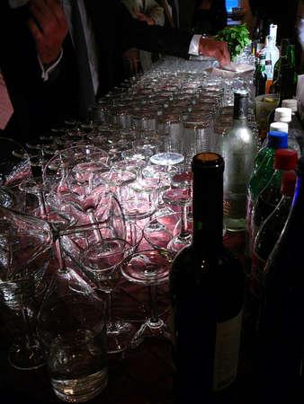 bartend: Scene of customers in active elegant bar lounge