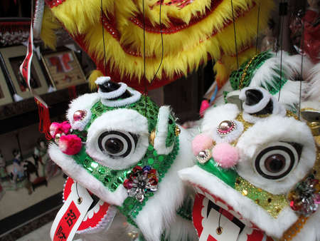 puppets: Chinese dragon puppets celebrating the Chinese New Year holiday Stock Photo