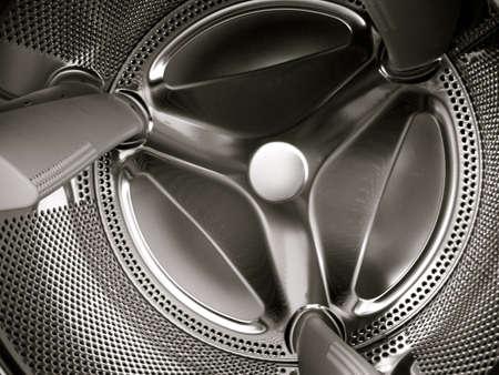 Closeup of washing machine interior awaiting laundry