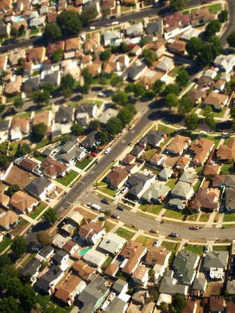 공중 교외 풍경, 로스 앤젤레스, 캘리포니아