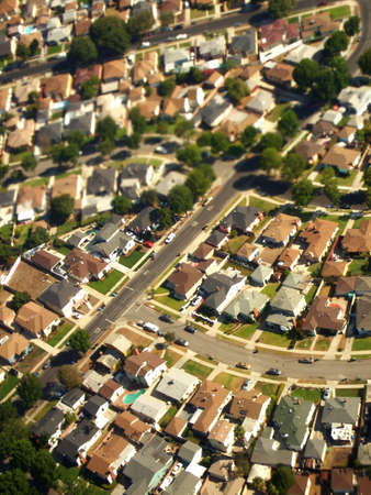 bungalows: Aerial of Suburban Landscape, Los Angeles, California Stock Photo