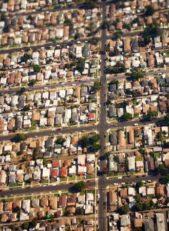 Aerial of Suburban Landscape, Los Angeles, California Stock Photo