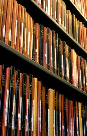 Close-up of Shelf of Books in a Library