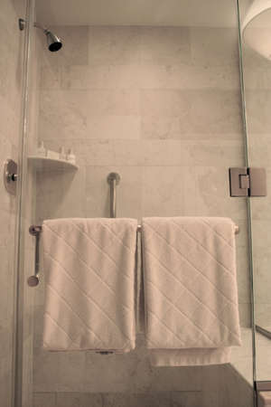 Plush White Towels on Rack on Glass Shower in Bathroom photo