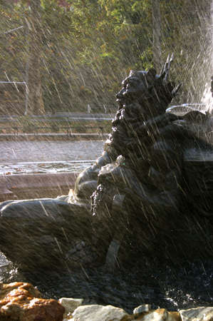 Public Art: Fountain of Neptune with Trident at Entry Gates to Prospect Park, Brooklyn Archivio Fotografico