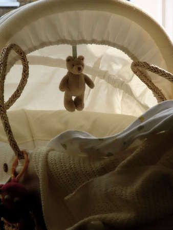 bassinet: Still life of  cradle or moses basket with teddy bear Stock Photo