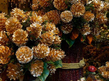 Decorative Festive Gold Winter Holiday Natural Pinecone Arrangement