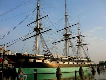 Landmark USS Constellation Historic Ship in Baltimore, Maryland Harbor Stock Photo