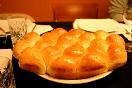 Fresh Dinner Rolls Served on Table at Elegant Restaurant Stock Photo - 2130587