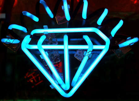 Vintage Neon Diamond Sign in Jewelry Display Window Stock Photo - 2377955