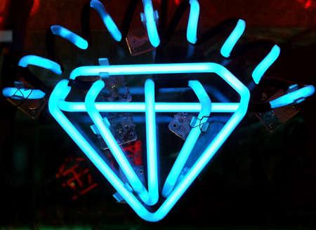 window display: Vintage Neon Diamond Sign in Jewelry Display Window