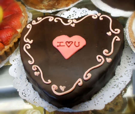 Romantic Chocolate Heart Cake Spells I Love You