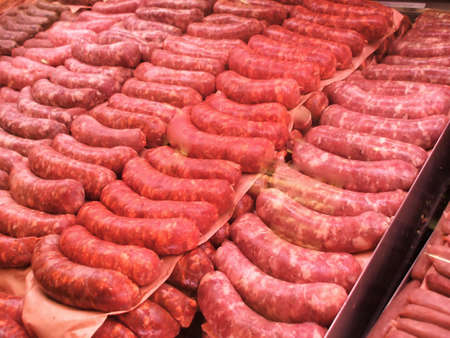 Variety of Sausages at Butcher