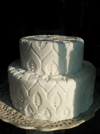 Elaborate White Wedding Cake On Stand Isolated Over Black Stock Photo Picture And Royalty Free Image 2680648