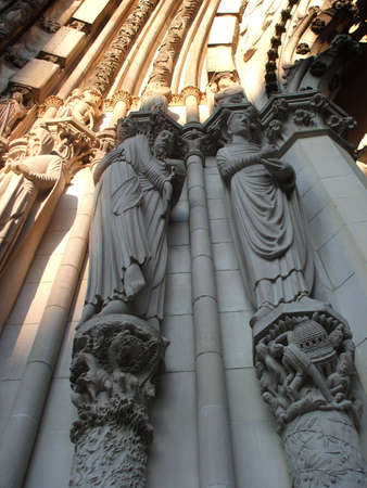 Sculptures on Facade of Monumental Saint John the Divine Cathedral, New York City photo