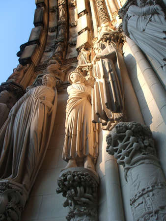Sculptures on Facade of Monumental Saint John the Divine Cathedral, New York City