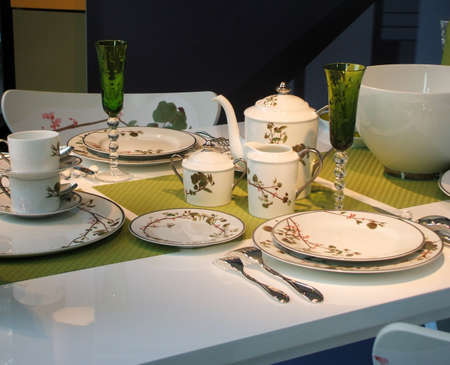 Elegant Floral Patterned Elegant Spring China Table Setting Stock Photo