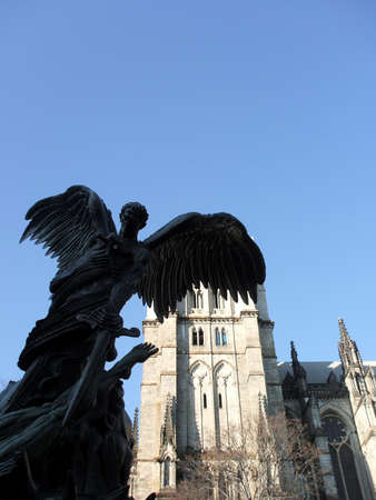 Sculpture of Saint Michael in Front of St John the Divine Cathedral, New York City