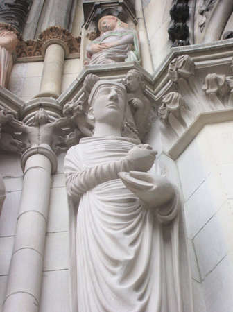Figure of Saint on Facade of Saint John the Divine Cathedral, New York City. Largest cathedral in the United States, longest cathedral in the world. photo
