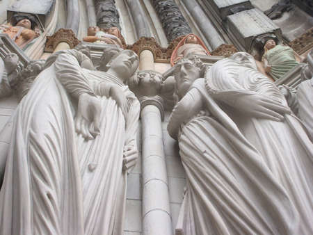 Frieze of Saints on Facade of Saint John the Divine Cathedral, New York City. Largest cathedral in the United States, longest cathedral in the world. Archivio Fotografico