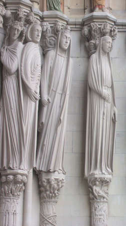 Sculptures of Saints on Facade of Saint John the Divine Cathedral, New York City. Largest cathedral in the United States, longest cathedral in the world.