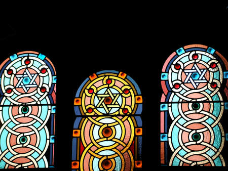 jewish: Stained Glass Windows with Star of David Designs in Jewish Synagogue Interior
