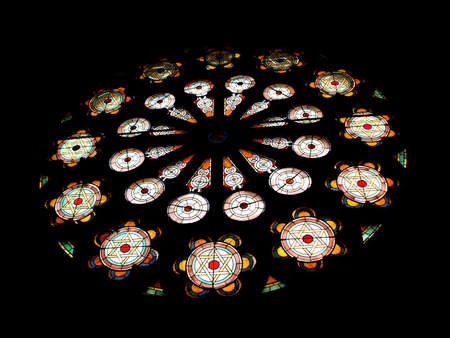 stained glass windows: Stained Glass Rose Window with Star of David Designs in Jewish Synagogue, New York