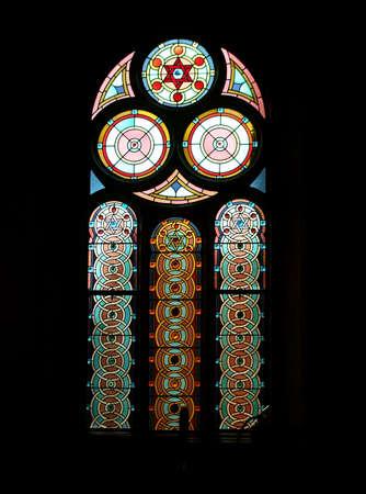 vetrate colorate: Vetrate a Stella di David disegni in sinagoga ebraica Interni