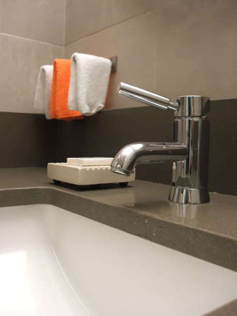 Bathroom Still Life: Modern Faucet and Sink photo