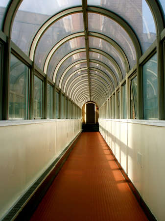 Brightly Lit Perspective of Long Hallway  photo