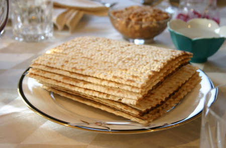 Matzot Set Out for Traditional Passover Seder Stock Photo - 2910021