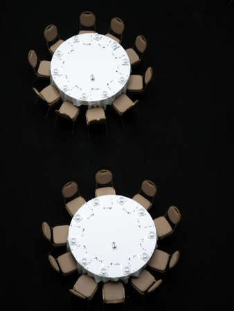 Aerial Perspective of Round Tables Set For Meal Stock Photo