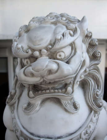 Detail of Carved Stone Chinese Dragon Statue photo