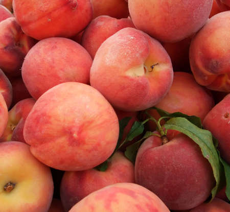 fuzz: Detail of Organic Orchard Peaches at Farmers Market