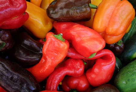 Detail of Colorful Organic Hot Peppers at Farmers Stand photo