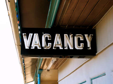 Retro Vintage Neon Vacancy Sign at Old Motel photo