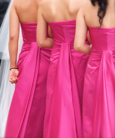 Group of Bridesmaids in Pink at Wedding