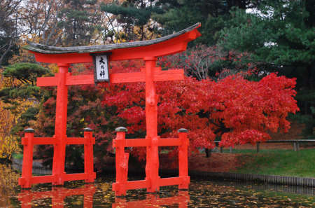 Bursts of Color in Fall Foliage Behind Red Ceremonial Gate in Traditional Japanese Landscape Brooklyn Botanic Garden New York Stock Photo