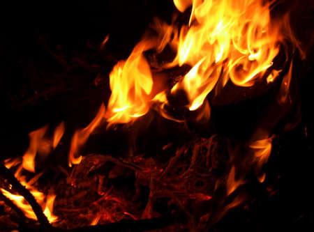 Closeup of camp fire or bonfire built on beach Foto de archivo