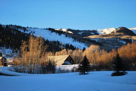 Rural Barn in Park City, Utah in Early Morning  photo