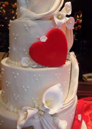 Detail of White Wedding Cake with Heart Theme